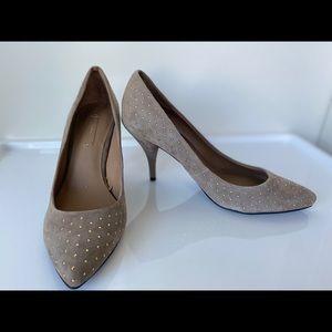 Zara High Heels Tan/Gray w Golden Dots Size US 7.5